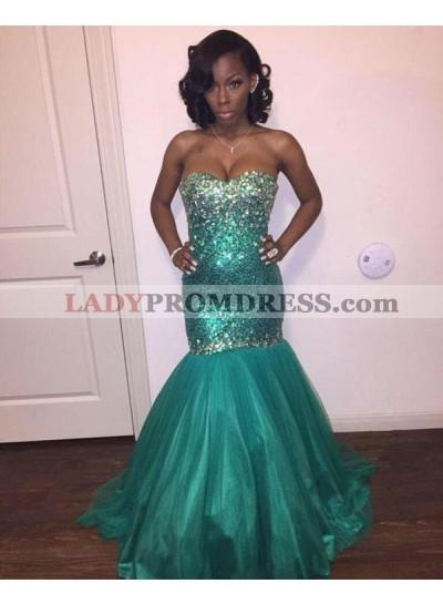 2021 Ocean Style Jade Mermaid/Trumpet Strapless Sweetheart Sequins Beaded Prom Dresses