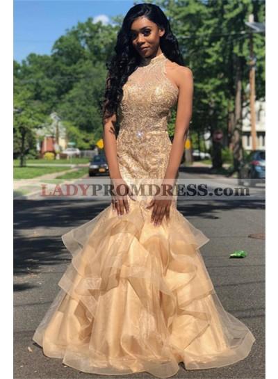 2021 Glamorous Champagne Halter Beading Mermaid/Trumpet Organza Tiers Prom Dresses