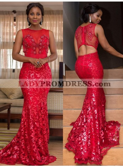 2021 South East Asia Style Red Lace Scoop Neck Sleeveless Mermaid/Trumpet Prom Dresses