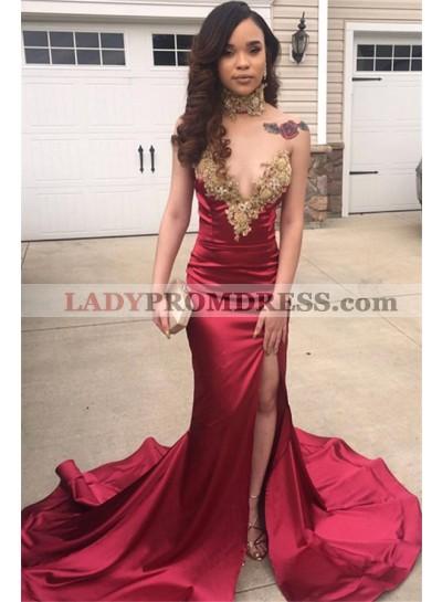 2021 Chic&Modern Burgundy V Neck Applique Split Mermaid/Trumpet Prom Dresses