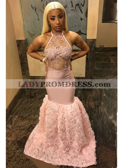 2021 Super Hot Pink Halter Lace Mermaid/Trumpet Flowers See Through Prom Dresses