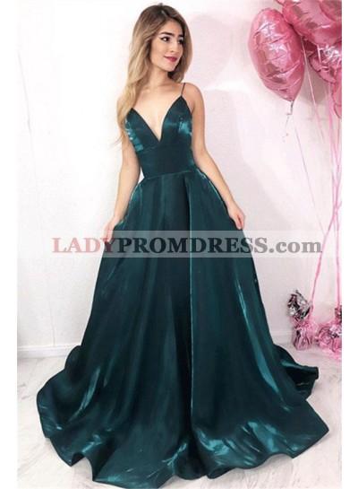 2021 Gorgeous Dark-Green A-Line/Princess V Neck Spaghetti Straps Satin Prom Dresses