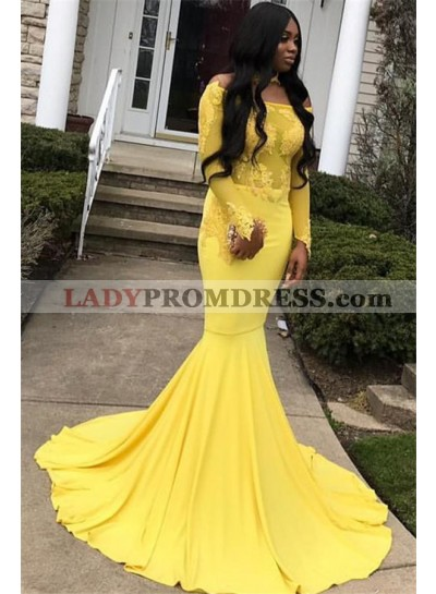 2021 Fresh Daffodil Long Sleeve Off-The-Shoulder Applique Mermaid/Trumpet Satin Prom Dresses
