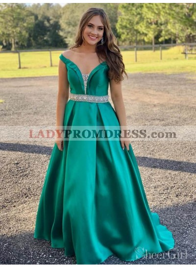2021 Classic Jade A-Line/Princess V Neck Off-The-Shoulder Beaded Satin Plus Size Prom Dresses