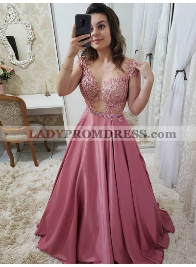 2021 Sweet Dusty-Pink Lace A-Line Georgette Applique Beaded See Through Satin Prom Dresses
