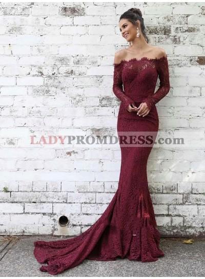 2021 Elegant Burgundy Off-The-Shoulder Long Sleeve Lace Mermaid/Trumpet Court Train Prom Dresses