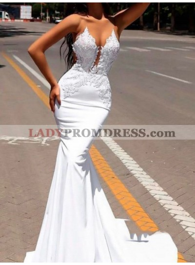 2021 Chic White Satin Georgette Applique See Through Mermaid/Trumpet Backless Prom Dresses