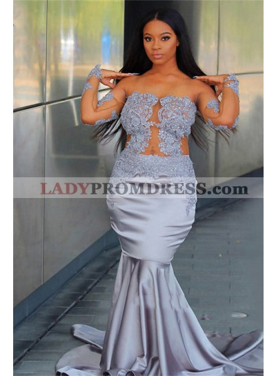 2021 Sexy Light-Slate-Gray Mermaid/Trumpet Applique Long Sleeve See Through Plus Size Prom Dresses