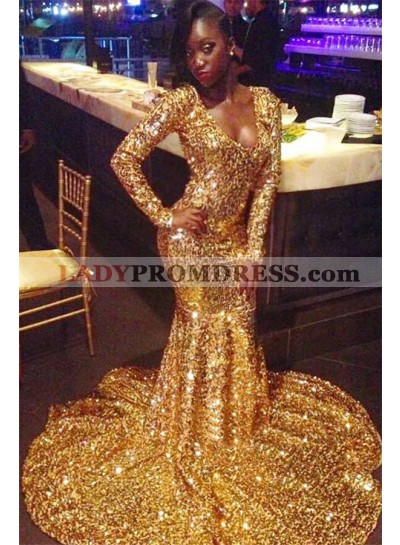 2021 Shining Gold Sequins Long Sleeve Mermaid/Trumpet Scoop Neck Plus Size Prom Dresses