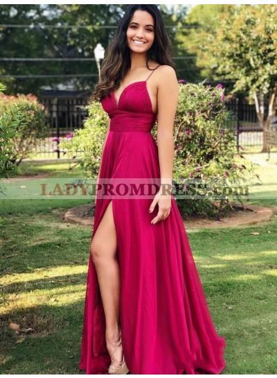 2021 Chic A-Line/Princess Fuchsia Spaghetti Straps Sweetheart Neck Ruching Split-Front Taffeta Prom Dresses