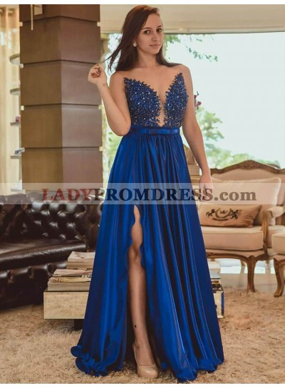 2021 Sexy A-Line/Princess Royal-Blue Satin Applique Beaded Split-Front Sweetheart Neck BackLess Prom Dresses