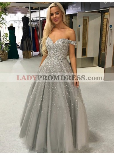 2021 New Arrival Light-Slate-Gray A-Line/Princess Sweetheart Off-The-Shoulder Beaded Tulle Prom Dresses