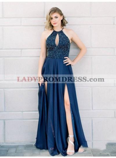 2021 Royal-Blue Sheath/Column Halter Sleeveless Double Split-Front Sequins Beaded Chiffon Prom Dresses