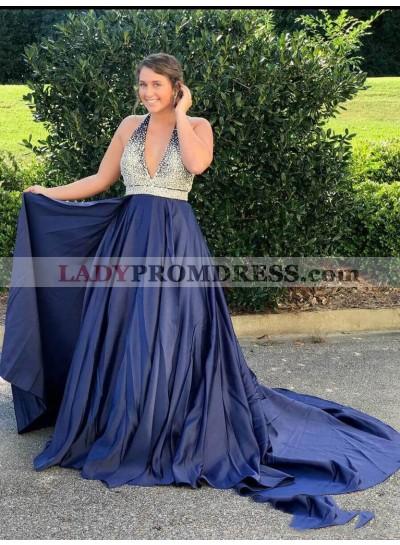 2021 Glamorous A-Line/Princess Halter V Neck Beaded Dark-Navy Taffeta Prom Dresses With Train