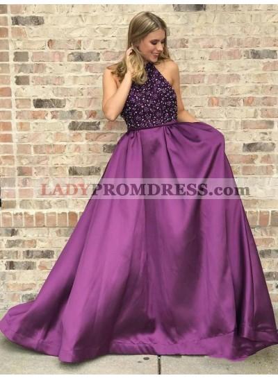 2021 Glamorous Purple A-Line/Princess Halter Beaded Sleeveless Satin Prom Dresses