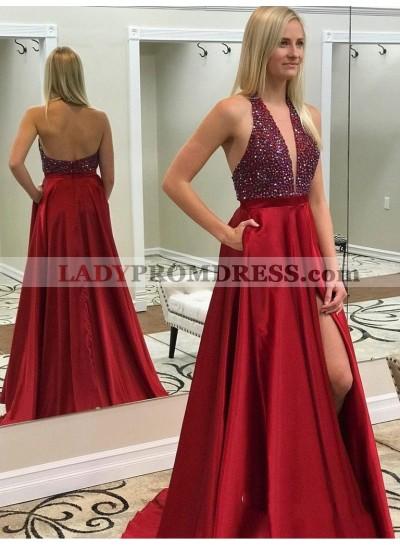 2021 Empire Red Halter V Neck Sleeveless Backless Split-Front Beaded Satin Prom Dresses