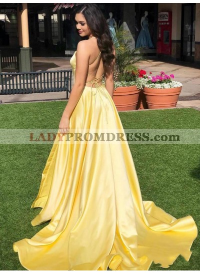 2021 Brilliant Daffodil Backless Sleeveless Criss Cross Satin Prom Dresses With Court Train
