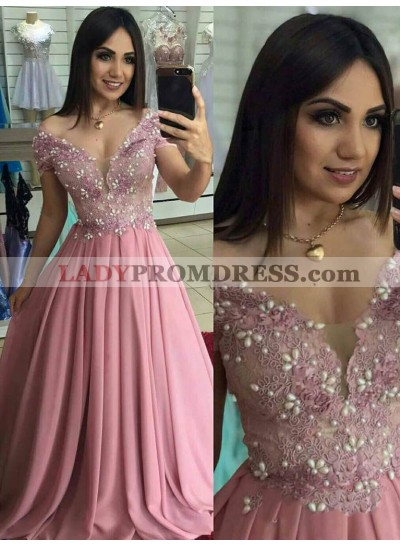 2021 Sweet Style A-Line/Princess Dusty-Rose Off-The-Shoulder V Neck Chiffon Applique Beaded Prom Dresses