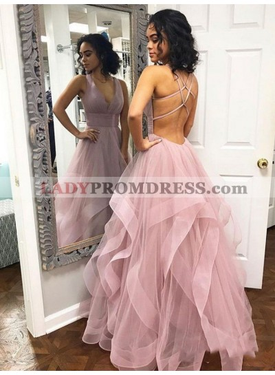 2021 Glamorous Dusty-Rose V Neck Pleated Backless Sleeveless Criss Cross Tiers Organza Prom Dresses