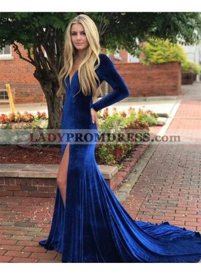 2021 Royal-Blue Velvet V Neck Long Sleeve Split-Front Backless Mermaid/Trumpet Prom Dresses