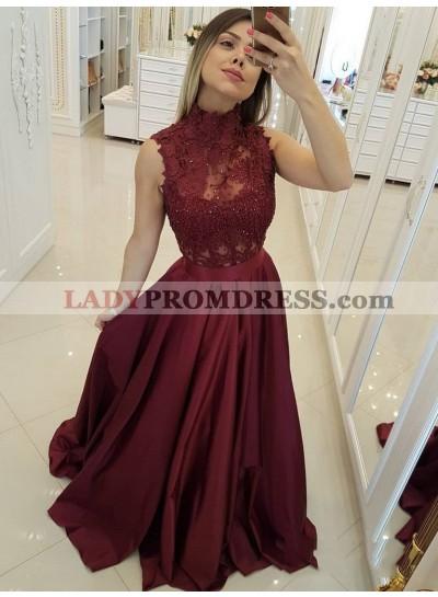 2021 Burgundy A-Line/Princess High Neck Sleeveless Lace Beaded Satin Prom Dresses