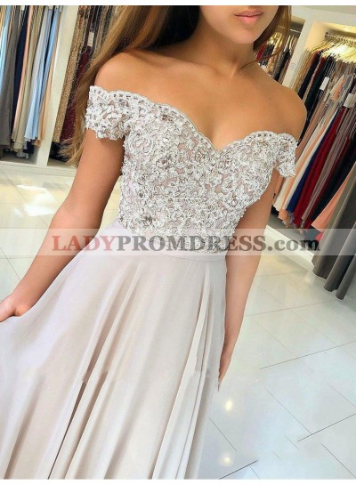 2021 Fresh Dusty-Rose A-Line/Princess Off-The-Shoulder Lace Beaded Button Chiffon Prom Dresses