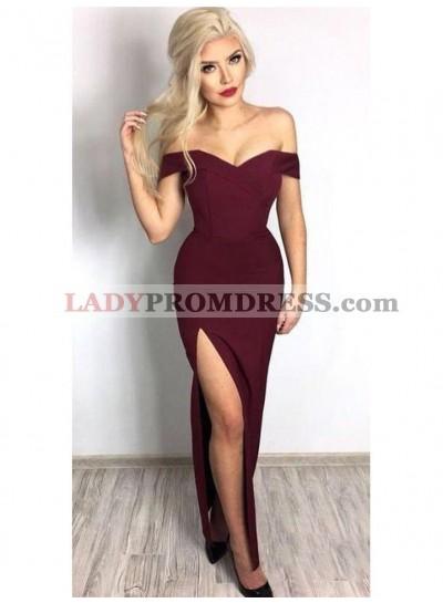 2021 Intellective Burgundy Sheath/Column Off-The-Shoulder Sweetheart Split-Front Prom Dresses