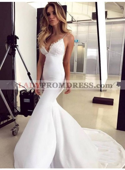 2021 White Satin Applique Mermaid/Trumpet V Neck Sleeveless Criss Cross Prom Dresses