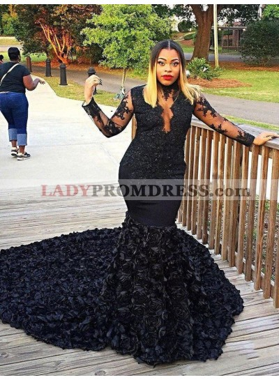 2021 Black Long Sleeve High Neck Applique Beaded Mermaid/Trumpet Flowers Prom Dresses