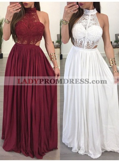 2021 Burgundy White Lace High Neck Sleeveless Sheath/Column Chiffon Prom Dresses