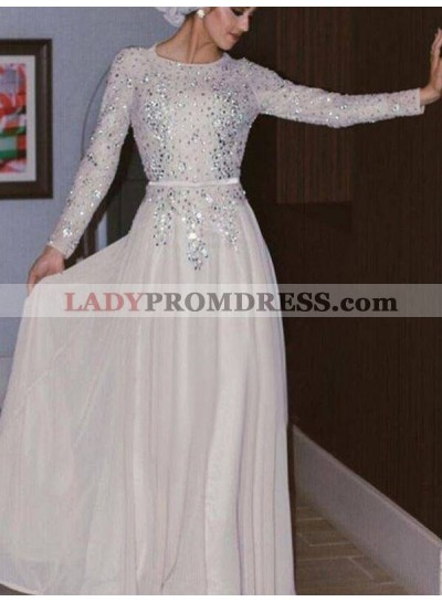 2021 Muslin Style Ivory Jewel Neck Long Sleeve Crystal Beaded Chiffon Prom Dresses