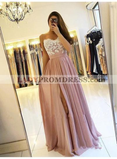 2021 Brilliant Dusty-Rose Lace Sweetheart Sleeveless Applique Split-Front Chiffon Botton Prom Dresses