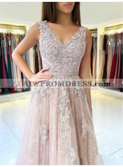2020 Elegant Dusty-Rose A-Line/Princess V Neck Sleeveless Applique Tulle Prom Dresses
