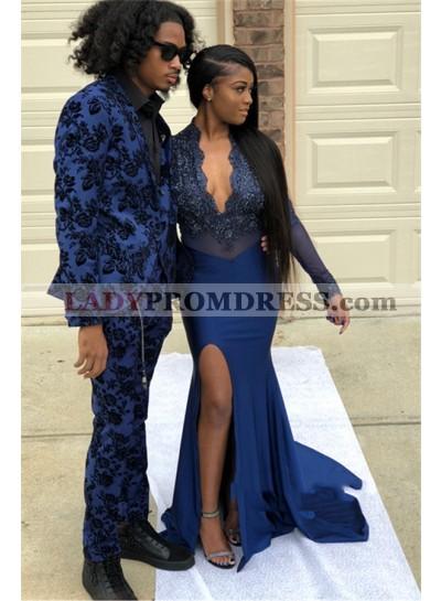 2021 Navy Blue Long Sleeve V Neck Applique Split Front Mermaid/Trumpet Prom Dresses