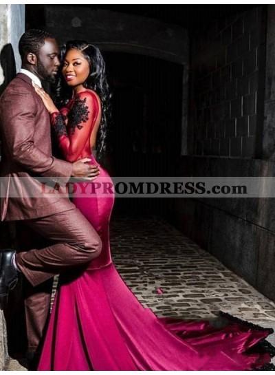 2020 Burgundy Satin Mermaid/Trumpet Long Sleeve Scoop Neck Backless Applique Beaded See Through Prom Dresses