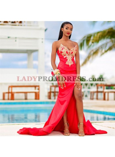 2019 South East Asia Style Red Satin Sweetheart Strapless Split-Front Gold Applique Beaded Prom Dresses