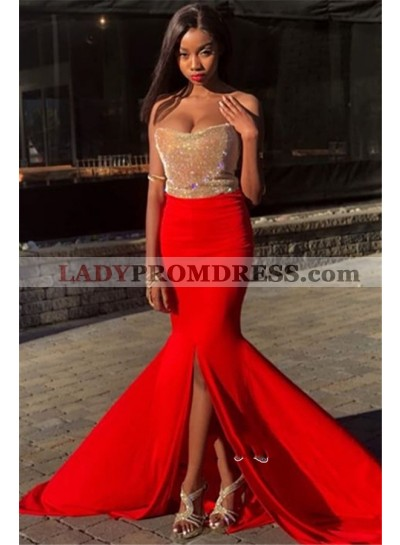 2021 Gold Red Color Blocking Sweetheart Strapless Split-Front Sequins Mermaid/Trumpet Prom Dresses