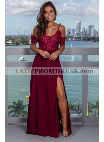 2019 Sheath/Column Burgundy Off-The-Shoulder Spaghetti Straps Split-Front Chiffon Prom Dresses