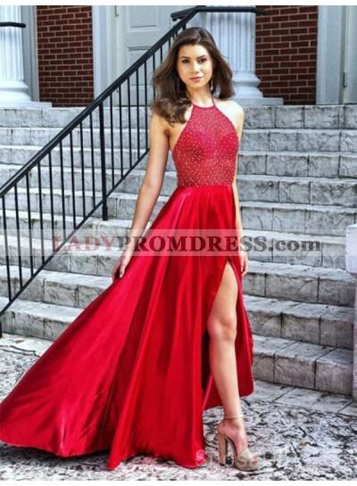 2021 Gorgeous Halter Sleeveless Backless Beaded High Low Split-Front Prom Dresses