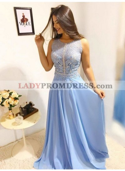 2021 Elegant Sheath/Column Scoop Neck Sleeveless Applique Beaded Chiffon Prom Dresses
