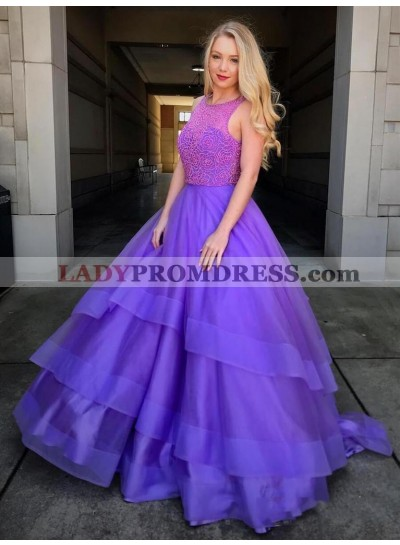 2021 Ball Gown Scoop Neck Sleeveless Beading High Low Tiers Organza Prom Dresses