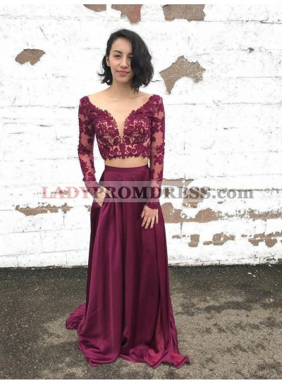 2019 New Arrival Two Piece Lace Long Sleeve V Neck Satin Prom Dresses