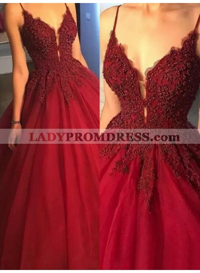 2021 New Arrival Ball Gown V Neck Sleeveless Spaghetti Straps Applique Beading Prom Dresses