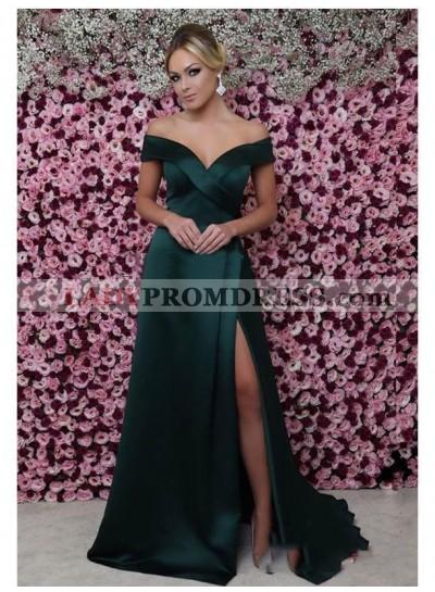 2021 Elegant Sheath/Column Off-The-Shoulder Sweetheart Strapless Split-Front Satin Prom Dresses