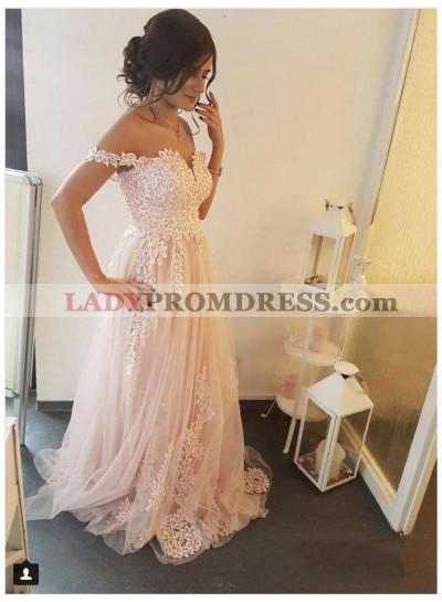 2021 Sweet A-Line/Princess Off-The-Shoulder V Neck Applique Tulle Prom Dresses
