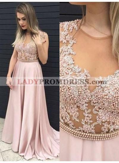 2019 A-Line/Princess Sleeveless Applique Beaded See Through Satin Prom Dresses