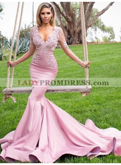 2019  Gorgeous Mermaid/Trumpet V Neck Long Sleeve Applique Beaded Prom Dresses