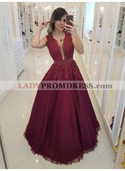 2021 Charming A-Line/Princess V Neck Sleeveless Applique Beaded Tulle Prom Dresses