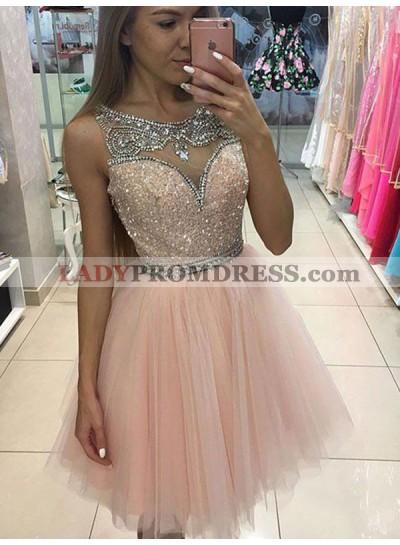 2021 A-Line/Princess Scoop Bateau Sleeveless Sequins Beading Tulle Short/Mini Homecoming Dresses