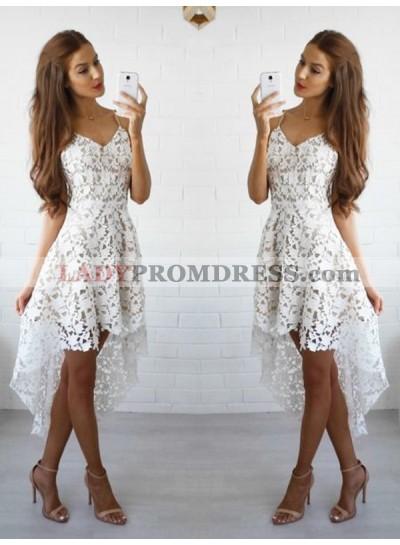2021 A-Line/Princess Spaghetti Straps V Neck Sleeveless Lace High Low Short/Mini Homecoming Dresses